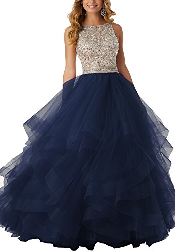 Beauty Bridal Sexy Beaded Homecoming Dresses Long Asymmetric Ruffle Tulle Formal Prom Ball Gowns S038 (6,Navy Blue)