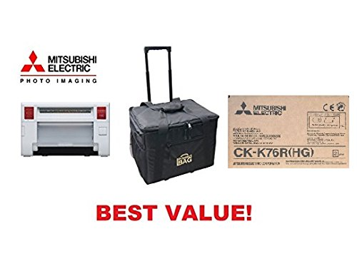 Mitsubishi CP-K60DW-S Photo Printer - BUNDLE - with CK-K76R(HG) Media Pack and our ROLLING CARRYING CASE. by Mitsubishi Electric