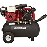 NorthStar Portable Gas-Powered Air Compressor -Honda 163cc OHV Engine, 20-Gal Horizontal Tank, 13.7 CFM @ 90 PSI