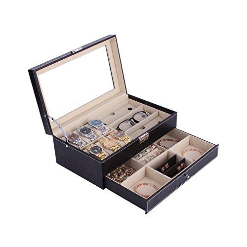 Anyasun Watch Box &3 Slots glasses box Double layer for Jewelry&watch&glasses Multi-functional storage box