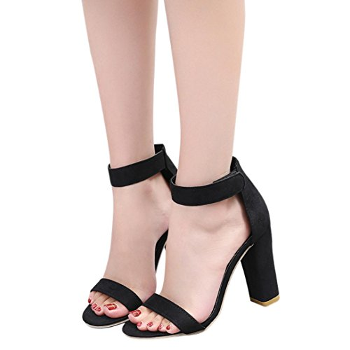 HLHN Women Sandals, Fish Mouth Peep Toe Ankle Buckle Strap Block High Heel Shoes Casual Retro Beach Black