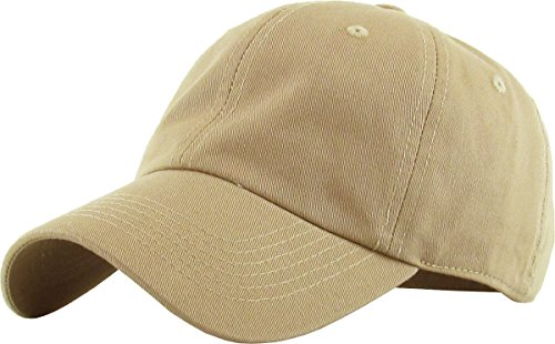 otton Dad Hat Adjustable Plain Cap. Polo Style Low Profile (Unstructured) (Classic) Khaki Adjustable (Khaki Unstructured Adjustable Cap)