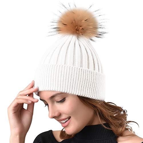 49183926d21 Galleon - Womens Winter Knit Beanie Hats Real Fur Pom Cashmere Blended  Skull Cap Ski Hat