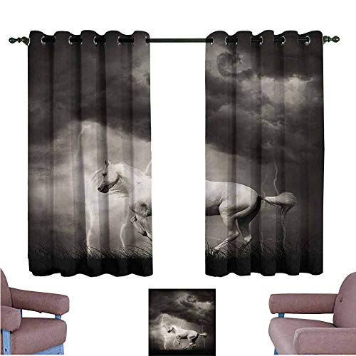 "Mannwarehouse Horses Fashion Curtain Thunderstorm with Clouds Darkening and Thermal Insulating 63"" Wx63 L"