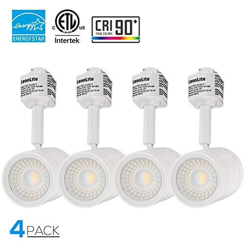 4 Pack 8.5W(50W Equiv.) Integrated CRI90+ LED White Track Light Head, Dimmable 38°Beam Track Lighting, 500lm Energy Star ETL-Listed, for Accent Task Wall Art Exhibition, 2700K Soft White