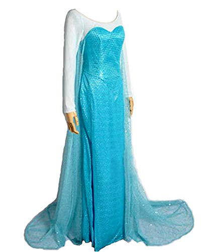 (8015 - Disney Frozen Queen Elsa Adult Woman Gown Cosplay Dress Blue)