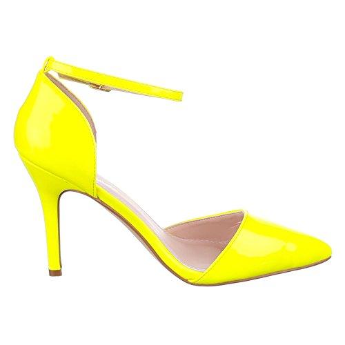 Ital-Design High Heel Pumps Damenschuhe High Heel Pumps Pfennig-/Stilettoabsatz High Heels Klettverschluss Pumps Gelb 9968-9