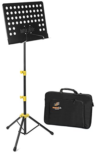 Tubular Solo Rack - Musical Life Music Stand for Sheet Music durable folding lightweight with Deluxe Carry Case (Yellow)