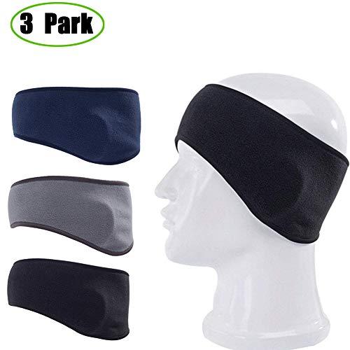 Jelacy Fleece Ear Warmer Ski Headband for Men & Women-Running Ear Cover Head Wrap Moisture Wicking Cycling Sweatband Winter Athletic Headwear Earmuffs,Work Out Headbands (3Pack)