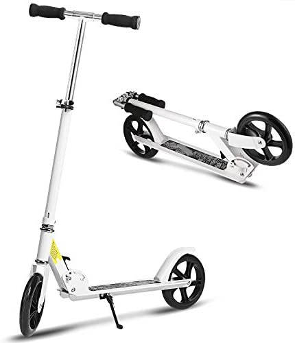 Hikole Scooter for Adult Youth, Foldable Adjustable Portable Ultra-Lightweight Teen Kick Scooter with Shoulder Strap, Birthday Gifts for Kids 8 Years Old and Up