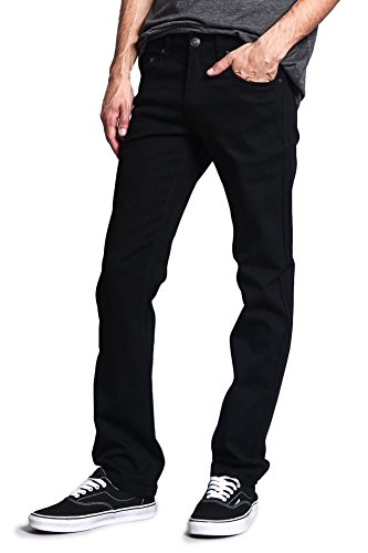 Victorious Mens Slim Fit Colored Stretch Jeans GS21 - Black - 36/30 (Men For Colored Slim Jeans Fit)