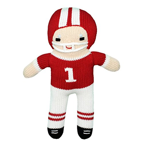 Plush Friendly Toy Eco - Zubels Baby Boys' Hand-Knit Football Player Plush Toy, All-Natural Fibers, Eco-Friendly, 12-Inch, Red & White