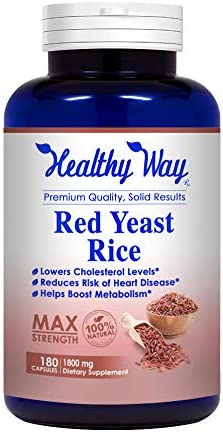 Healthy Way Best Red Yeast Rice 1800mg 180 Capsules Citrinin Free – Dietary Supplement Powder Pills to Support Cardiovascular Health – NON-GMO USA Made 100 Money Back Guarantee – Order Risk Free