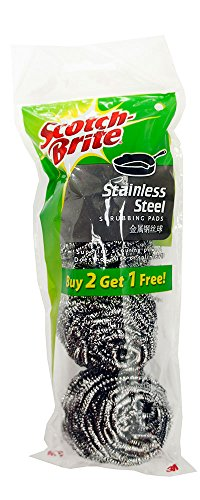Scotch-Brite Stainless Steel Scrubbing Scouring Pad, 3-Pads