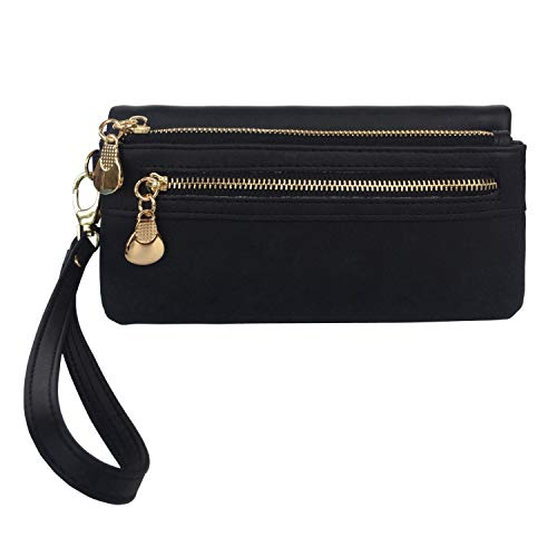 (Women's Wristlet Wallet PParth PU Leather Clutch Purse Card Organizer w/Front Zipper Pockets (Black))