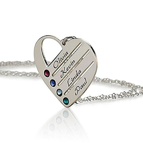 Love Pendant Heart Necklace with Simulated Birthstones - Heart Necklace - Custom Made with Any Names