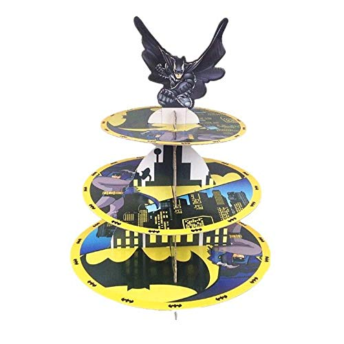 Astra Gourmet 3-Tire Batman Themed Cardboard Party Cupcake Stand Dessert Tower