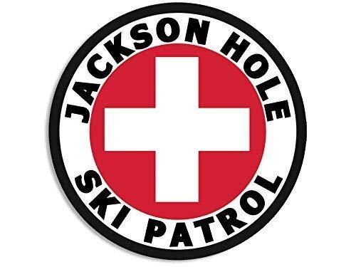 MAGNET 4x4 inch Round Jackson Hole SKI Patrol Sticker (wy Wyoming Snow) Magnetic vinyl bumper sticker sticks to any metal fridge, car, signs