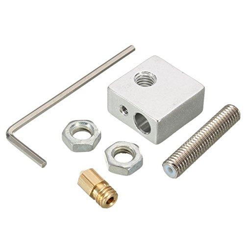 Hitommy 3D Printer Extruder Nozzle Print Head + Nozzle Throat + Heater Block Kit