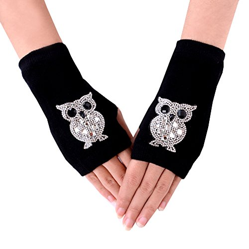 Owl Gloves (JISEN Lady Black Rhinestone Pattern Knitted Stretchy Soft Wrist Arm Fingerless Warm Short Gloves Owl)