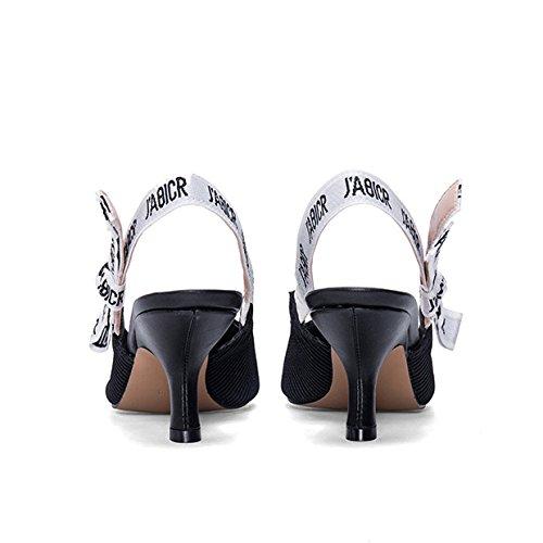 Parti Talons Bow Sandales en Pointu Chaton Black01 Taille Sandales Bal Cuir Slingback Toe Femmes Mariage Verni Chaussures Fpqtw8qvx