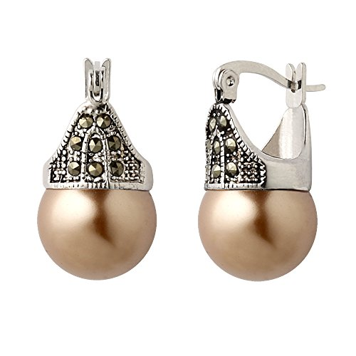 Hematite and Ball Hinged Pierced Earrings (Light Brown Bronze Faux Pearl)