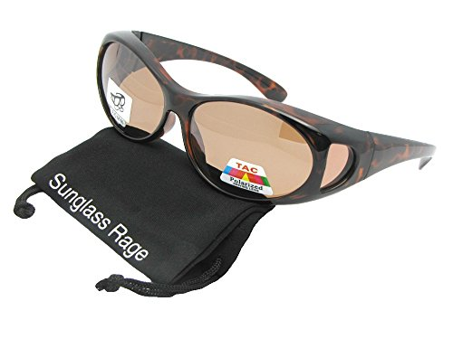 Style F3 Small Wrap Fit Over Sunglasses With Sunglass Rage Pouch (Tortoise-Amber Lenses, 2 - Small Fit Over Sunglasses