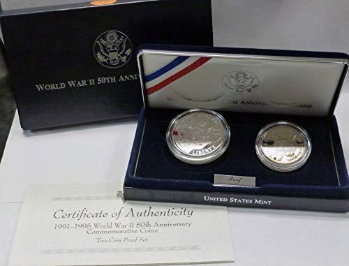 (1993 WW II 50th Anniversary Commemorative 2 Coin Proof Set)