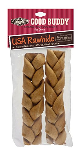 [Good Buddy USA Rawhide Braided Sticks for Dogs, 7 to 8-Inch] (Pollux Rawhide)