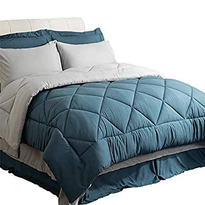"Bedsure Queen Size Bed in A Bag, Blue/Light Grey - Soft Microfiber, Reversible Bed Comforter Set 8 Pieces (1 Comforter, 2 Pillow Shams, 1 Flat Sheet, 1 Fitted Sheet, 1 Bed Skirt, 2 Pillowcases) - DISTINCTIVE HOME DECORATION: Bedsure Bed In a Bag features reversible design to update the look of your bed in flash with one side of blue and light gray to the other - Two fabulous colors revive your bedding with an elegant facade to coordinate with any decor - Stunning style and versatile usage unite with matching shams for a beautiful ensemble. EXQUISITE DETAIL DESIGN: Stylish diamond-pattern quilting completes the bedding ensemble and prevents comforter from shifting and clumping - Enveloping pillow cases with an inside 6"" attached hem are designed for pillows to stay securely for optimum comfort - 68""x80"" fitted sheet with deep pocket can pull snugly over any mattress up to 14"" effortlessly. PREMIUM BEDDING SET: Comforter in contrast color offers extra coziness and warmth for all year round - The bed skirt is not only for decoration, but also prevents dust and dirt from collecting underneath your bed - 90""x102"" flat sheet provides a luxury layer between you and comforter which will ensure hotel-inspired comfort for you to lie on. - comforter-sets, bedroom-sheets-comforters, bedroom - 41JxHsnOuIL. SS400  -"
