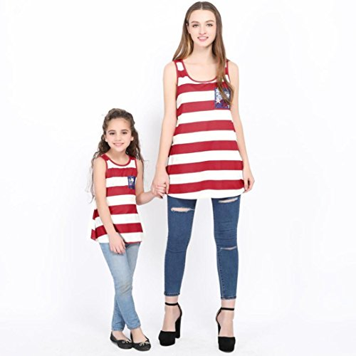 Sunbona Family Outfits Summer,Mom&Me Matching Amercia Flag Print Sleeveless Vest T Shirt Tops 4th of July Clothes (4T(2~3yeasr), Baby (Family Matching Costumes)