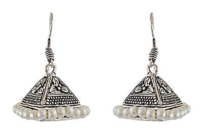 Subharpit Pearl Oxidized Silver Metal Indian Jhumka Jhumki Earring for Woman & Girls