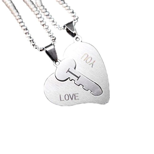 sameno 2018 Fashion 1 Pair I Love You Lock Key Heart Stainless Steel Pendant for Couple Necklace -