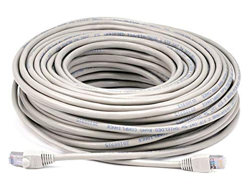Monoprice Cat5e Ethernet Patch Cable - Network Internet Cord - RJ45, Stranded, 350Mhz, STP, Pure Bare Copper Wire, 24AWG, 100ft, Gray