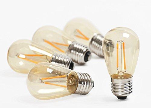 Modello - S14 Edison Vintage 2W LED Filament Bulb, 2200K blanc chaud, moyenne vis E27, teinté revêtement de verre