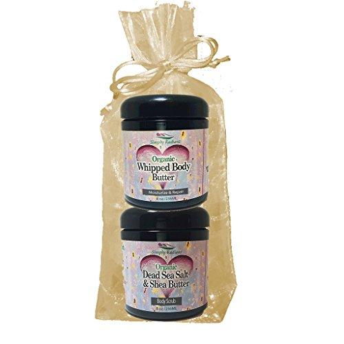 Simply Radiant Beauty Organic Skin Care Bath & Body Valentines Gift Set- Black Cherry Vanilla 8oz Dead Sea Salt & Shea Butter + Body Butter -