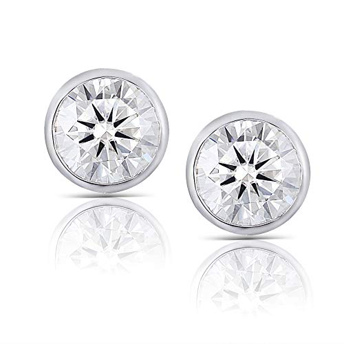 (Solid 14K White Gold 1ct 5mm FG Color Heart Arrows Cut Moissanite Stud Earring Bezel Setting Push Back for Women and)