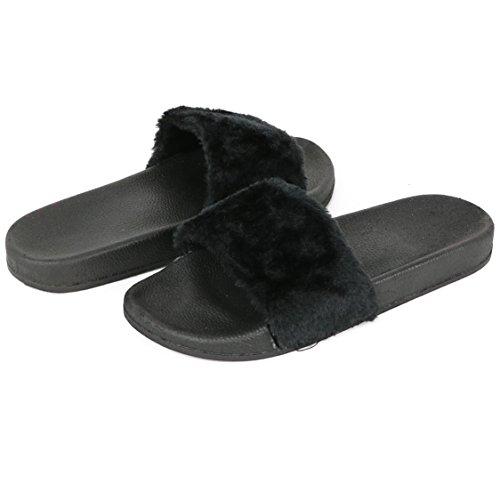 Chatons Femmes Slip Sur Fausse Fourrure Glisser Sandales Pantoufles Noir