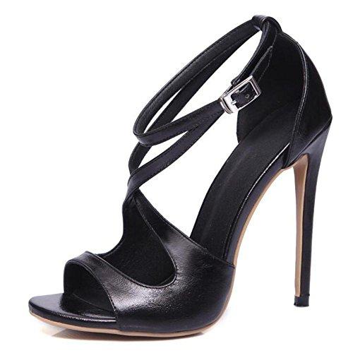 De 12 Boucle De Grande Danse à Boucle De avec Femmes Taille Hauts Fine Sandales Poitrine L YC black De Talons Cm FéMinine De nvw0qvOaF