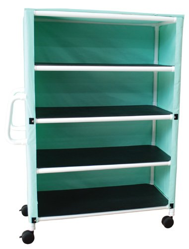 MJM International 345-4C-5 4 Shelf Cart with Cover, Royal Blue/Forest Green/Mauve
