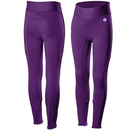 Horze Active JR Silicone FS Tights, Purple, Jr S