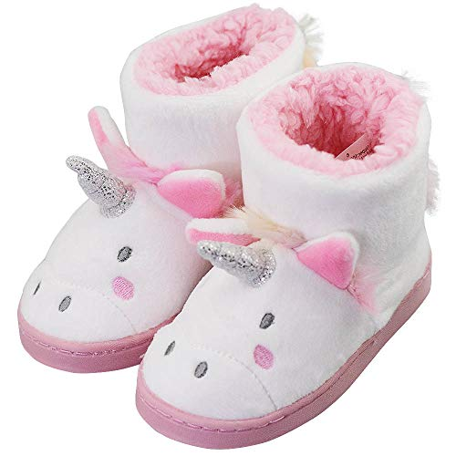 Kids Winter Warm Cute Cartoon Unicorn Fluffy Indoor Outdoor Slippers Boots Size Toddler 8 US White Unicorn