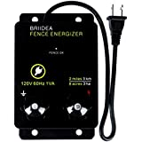 Briidea 2-Mile Electric Fence Energizer for Preventing Wild Animals Intruding 8 Acres Output Voltage 5000 V 0.1Joule