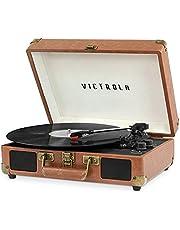 Victrola Vintage 3-Speed Bluetooth Suitcase Turntable with Speakers, Brown