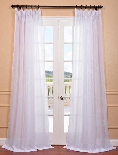 """HPD Half Price Drapes SHCH-VOL1-120-DLSW Signature Double Layered Sheer Curtain (1 Panel), 50 X 120, White - Sold Per Panel 100% Poly Voile DOUBLE-LAYERED Fabric 3"""" Pole Pocket with Hook Belt - living-room-soft-furnishings, living-room, draperies-curtains-shades - 41JxKGMVTAL -"""