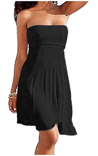 Zimaes Women's Strapless Cover Up Beachwear Fresh Solid Strapless Summer Tube Top Mini Dress Skirt Black M ()
