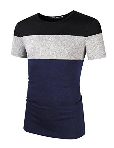 Yong Horse Mens Summer Casual Lightweight Elastic Slim Fit Striped Stitch Crew Neck Short Sleeve Cotton T Shirt (XL Navy) Pullover Men T Shirt
