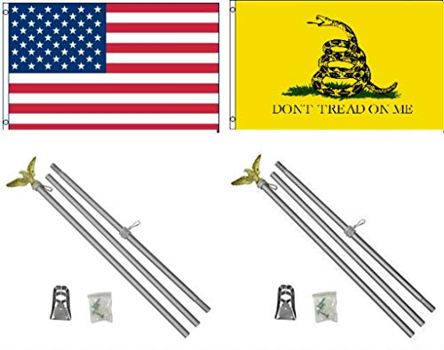 ALBATROS 3 ft x 5 ft USA American with Gadsden Yellow Snake Flag Aluminum with Pole Kit Set for Home and Parades, Official Party, All Weather Indoors Outdoors