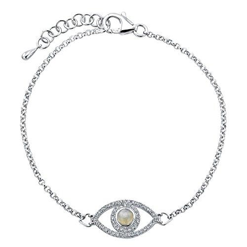 Sterling Silver Diamond Moonstone Evil Eye Bracelet (1/4cttw, JK, I2-I3)
