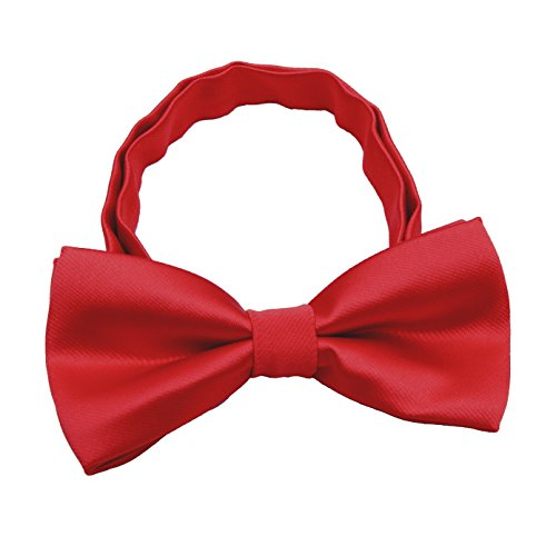 Silk Bow ties for Kids Boys - Adjustable Pre Tied Bowties for Toddler Baby (Red) ()